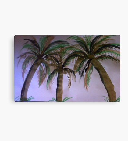 3 palm Trees , watercolor Canvas Print