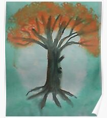 Big Old Tree  in Full Bloom (pink blossoms), watercolor Poster