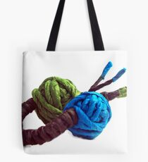 JUMPING COLORS - blue and green on a ring - Tote Bag