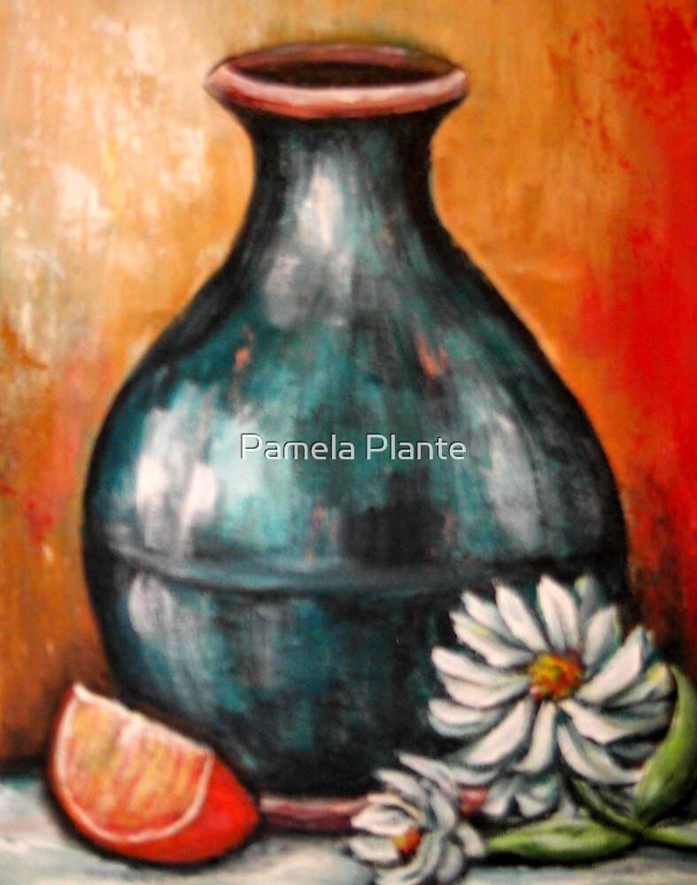 Blue Pottery by Pamela Plante