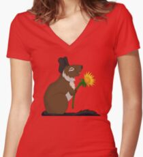 Dandelion Degu Fitted V-Neck T-Shirt