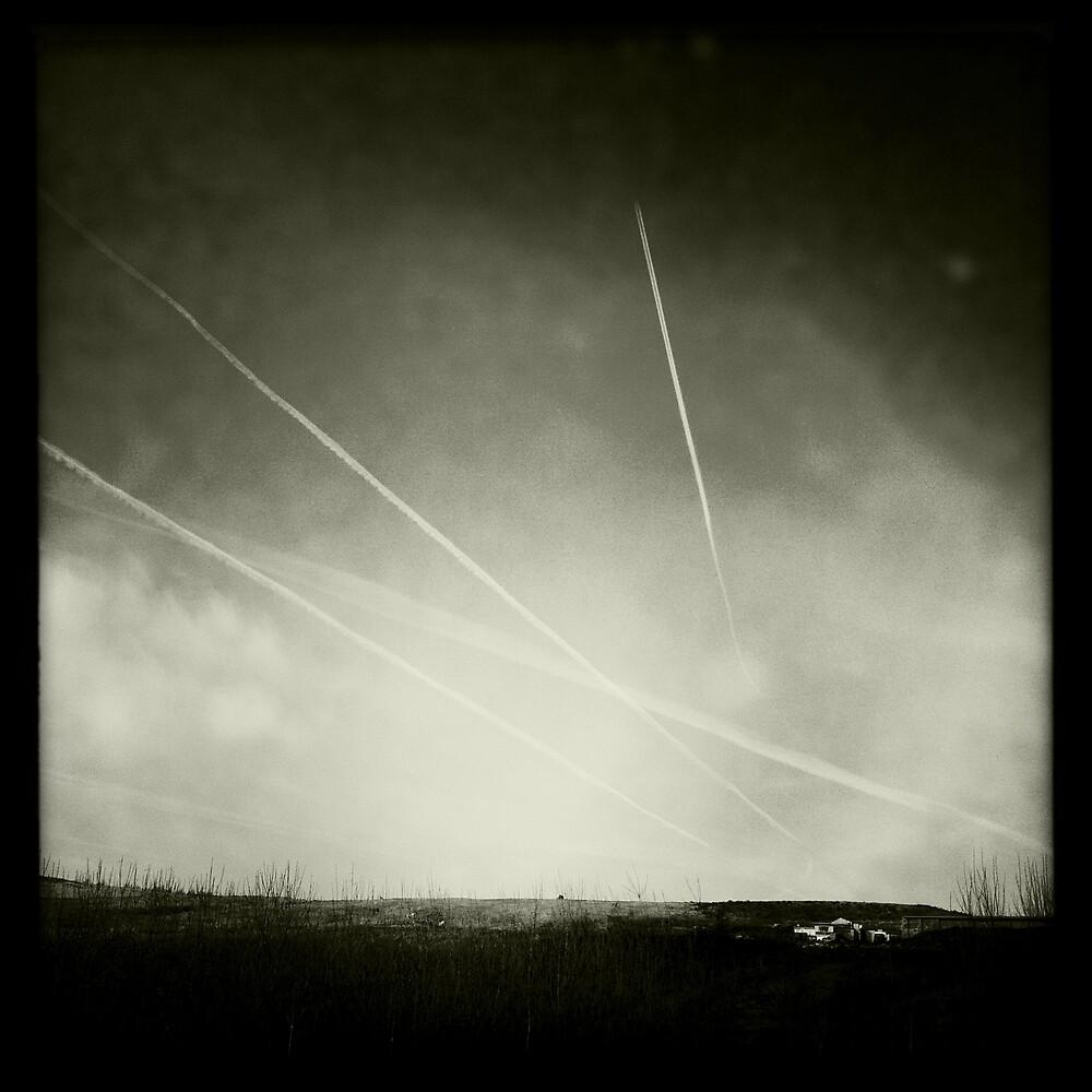 Black & White Contrails by GaryDanton