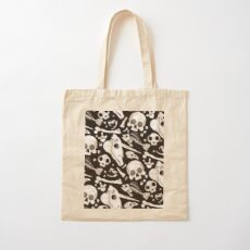 black Skulls and Bones - Wunderkammer Cotton Tote Bag