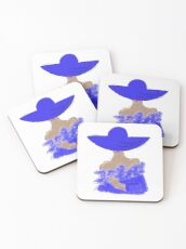 Elevated Lady in Blue Coasters