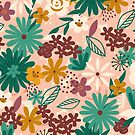 Floral Explosion - Pink + Green by latheandquill