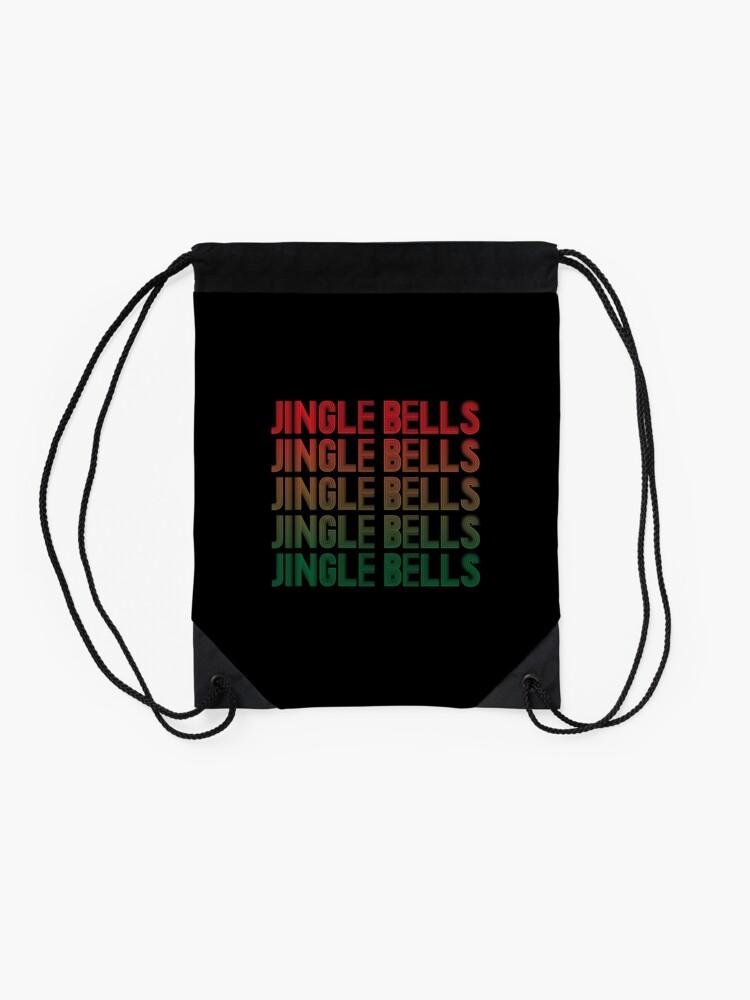 Alternate view of Jingle Bells Retro Christmas Pajama Gift. Drawstring Bag