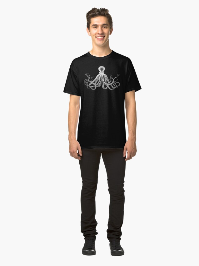 Alternate view of Octopus | Vintage Octopus | Tentacles | Sea Creatures | Nautical | Ocean | Sea | Beach | Black and White |  Classic T-Shirt