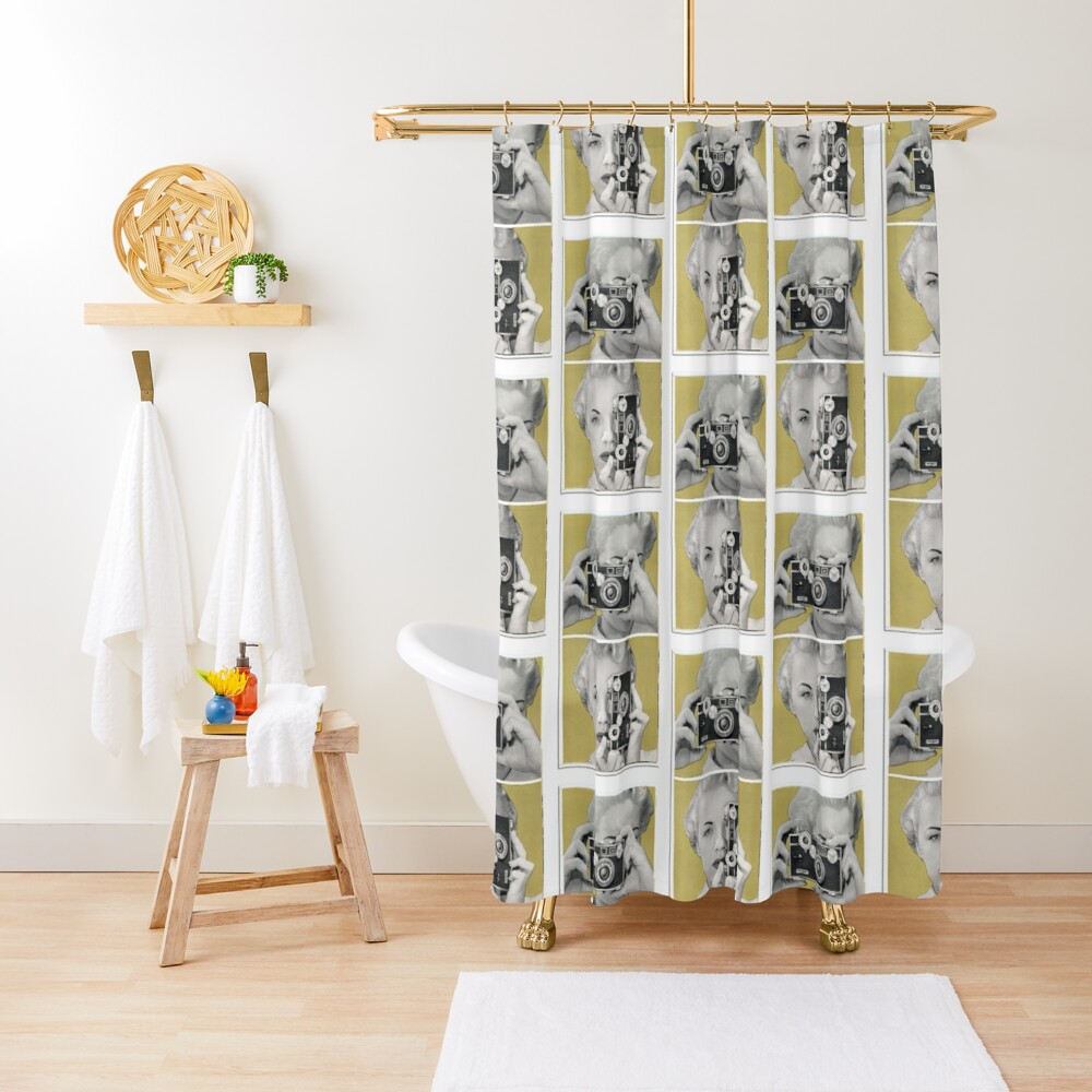Woman with Argus Camera - Vintage Graphic Shower Curtain