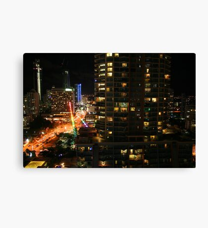 Surfers Paradise on a Saturday Night Canvas Print