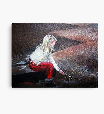 JEANNIE FEEDING SQUIRREL Canvas Print