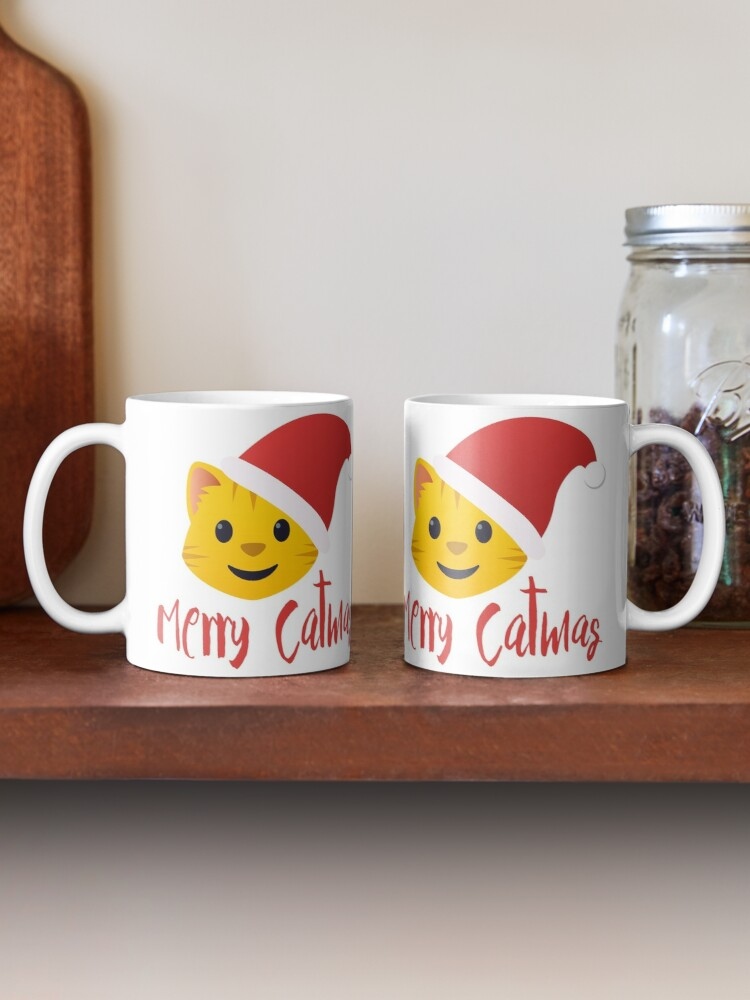 Alternate view of Merry Catmas emoji Mug