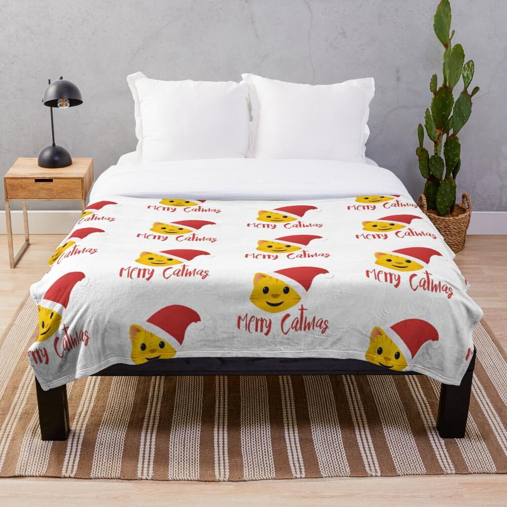 Merry Catmas emoji Throw Blanket