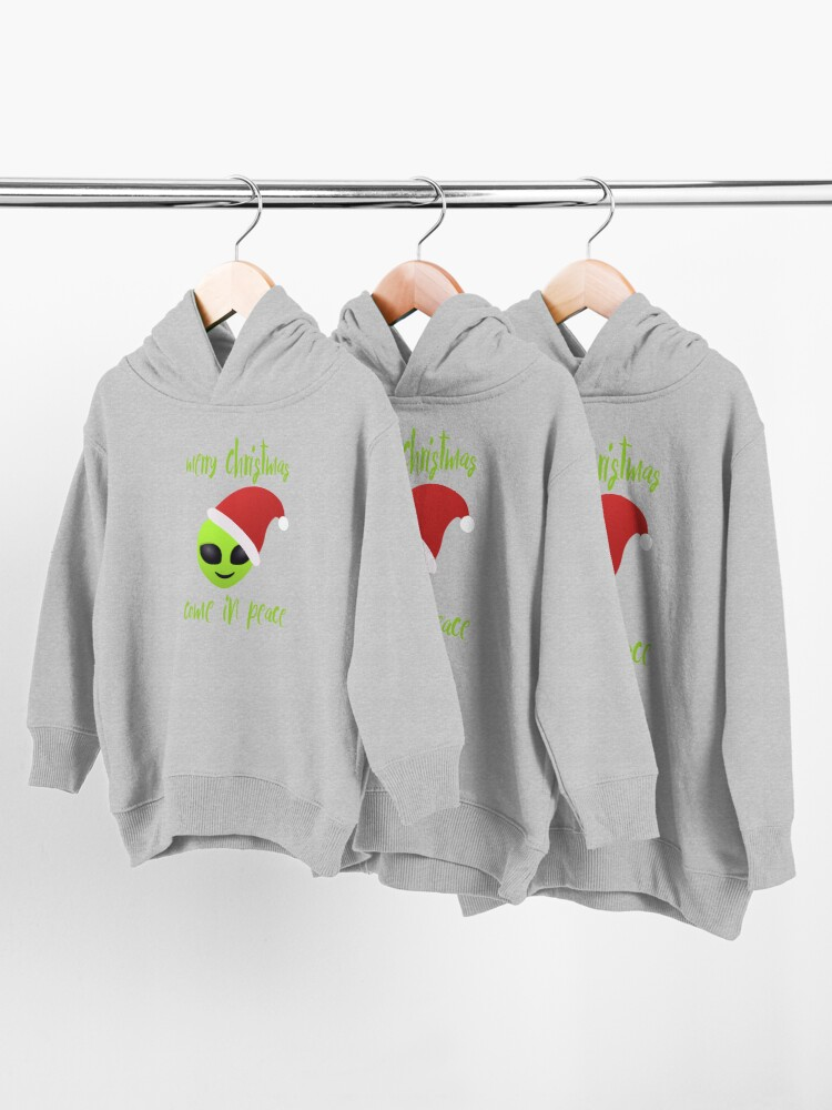 Alternate view of merry christmas, i come in peace Toddler Pullover Hoodie