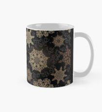 Golden Snowflakes on Black Classic Mug