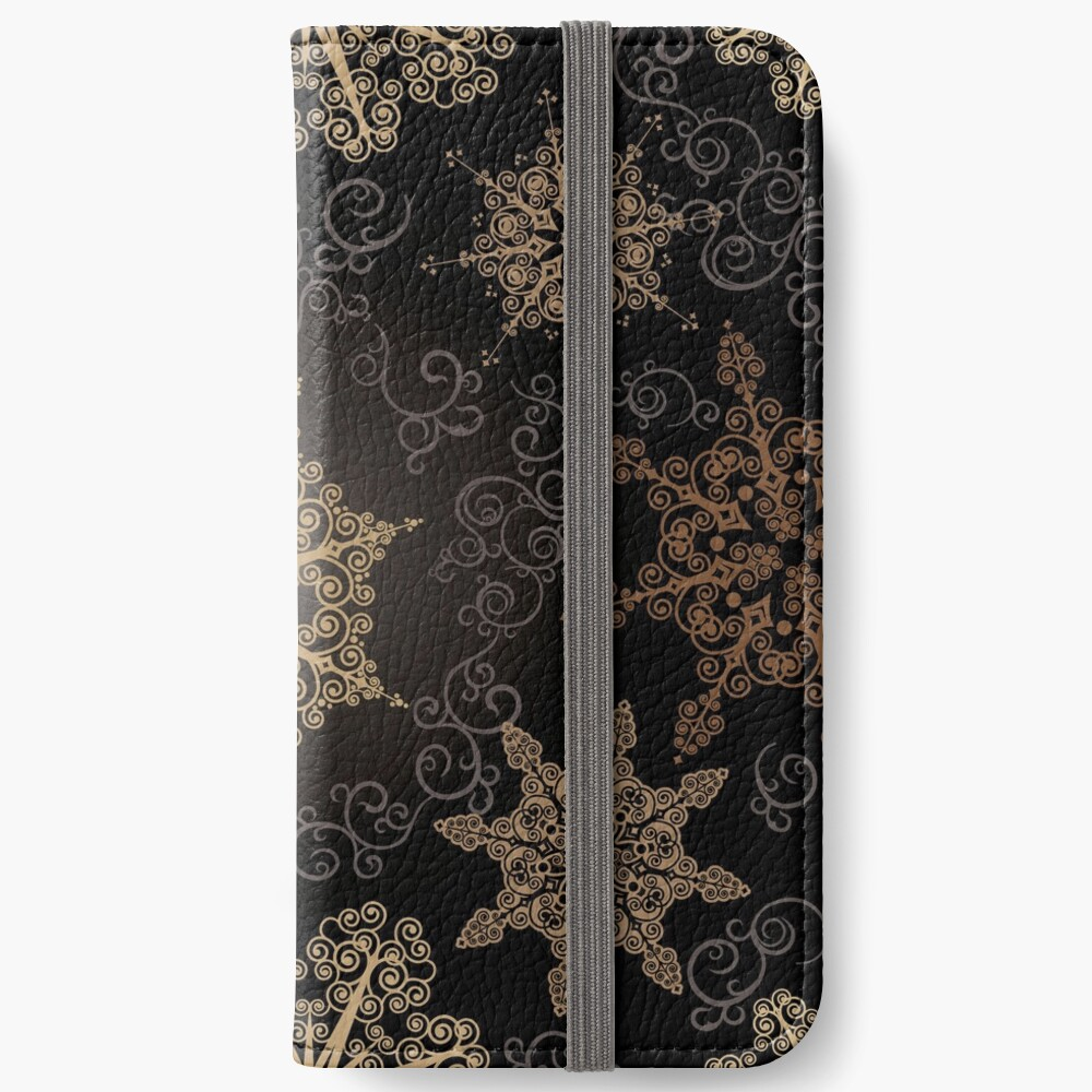 Golden Snowflakes on Black iPhone Wallet
