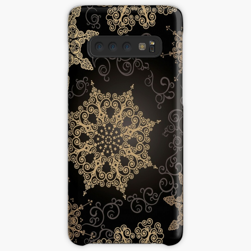 Golden Snowflakes on Black Samsung Galaxy Snap Case