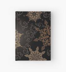 Golden Snowflakes on Black Hardcover Journal