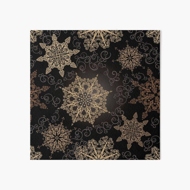Golden Snowflakes on Black Art Board Print