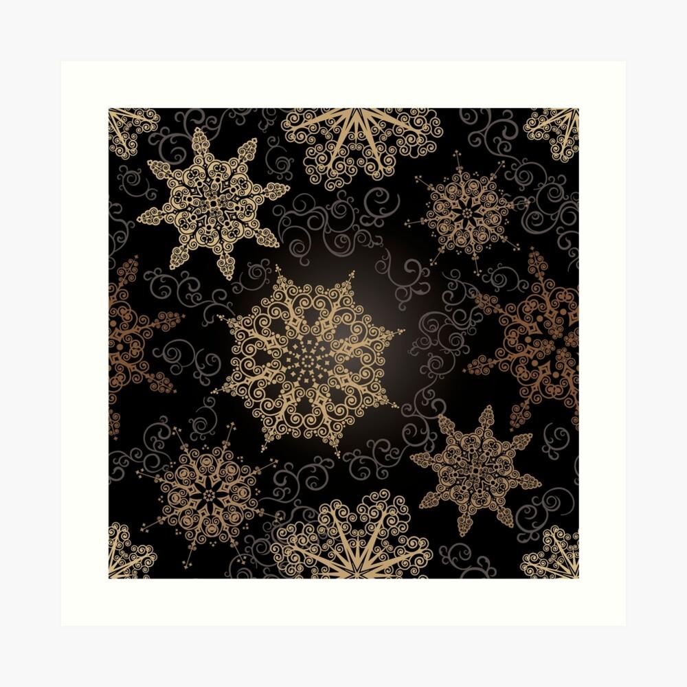 Golden Snowflakes on Black Art Print