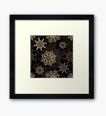 Golden Snowflakes on Black Framed Print