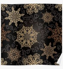 Golden Snowflakes on Black Poster