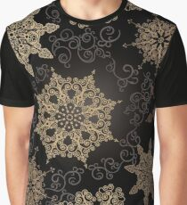 Golden Snowflakes on Black Graphic T-Shirt