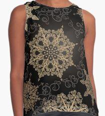 Golden Snowflakes on Black Sleeveless Top