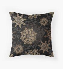 Golden Snowflakes on Black Throw Pillow