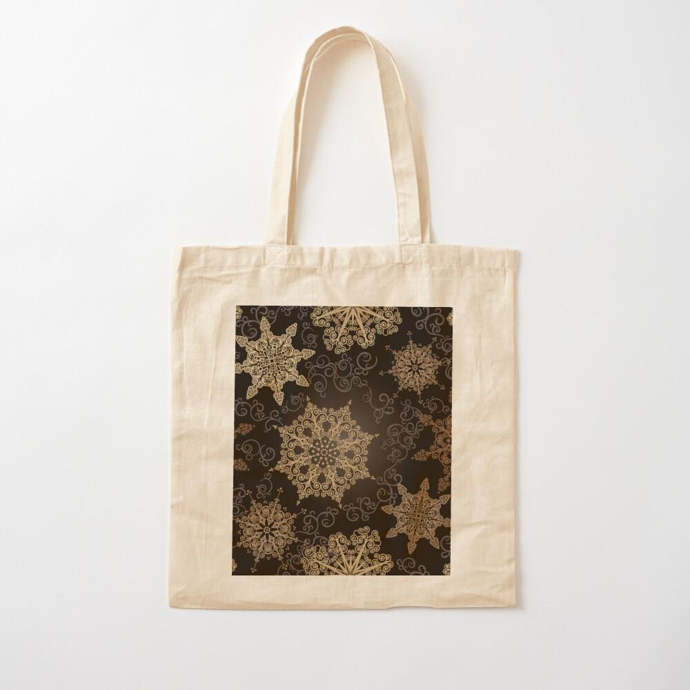 Golden Snowflakes on Black Cotton Tote Bag