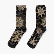 Golden Snowflakes on Black Sock