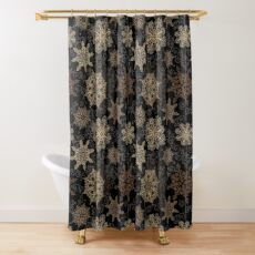 Golden Snowflakes on Black Shower Curtain