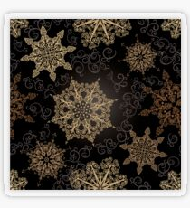 Golden Snowflakes on Black Transparent Sticker