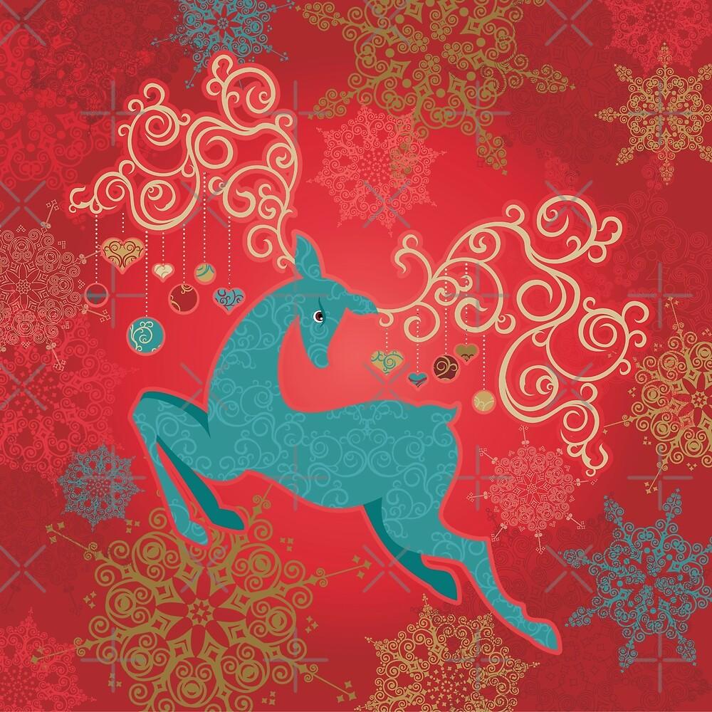 Christmas Deer on Red   by rusanovska