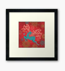 Christmas Deer on Red   Framed Print