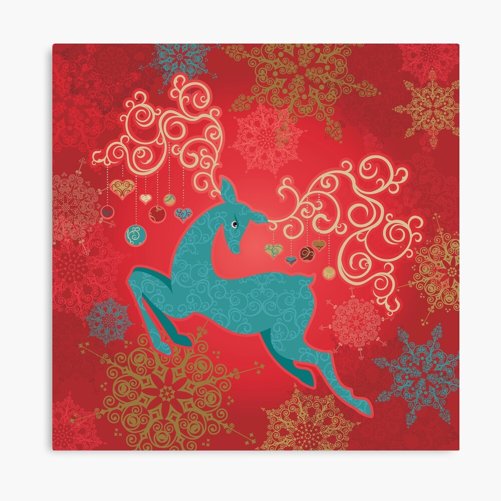 Christmas Deer on Red   Canvas Print