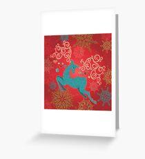 Christmas Deer on Red   Greeting Card