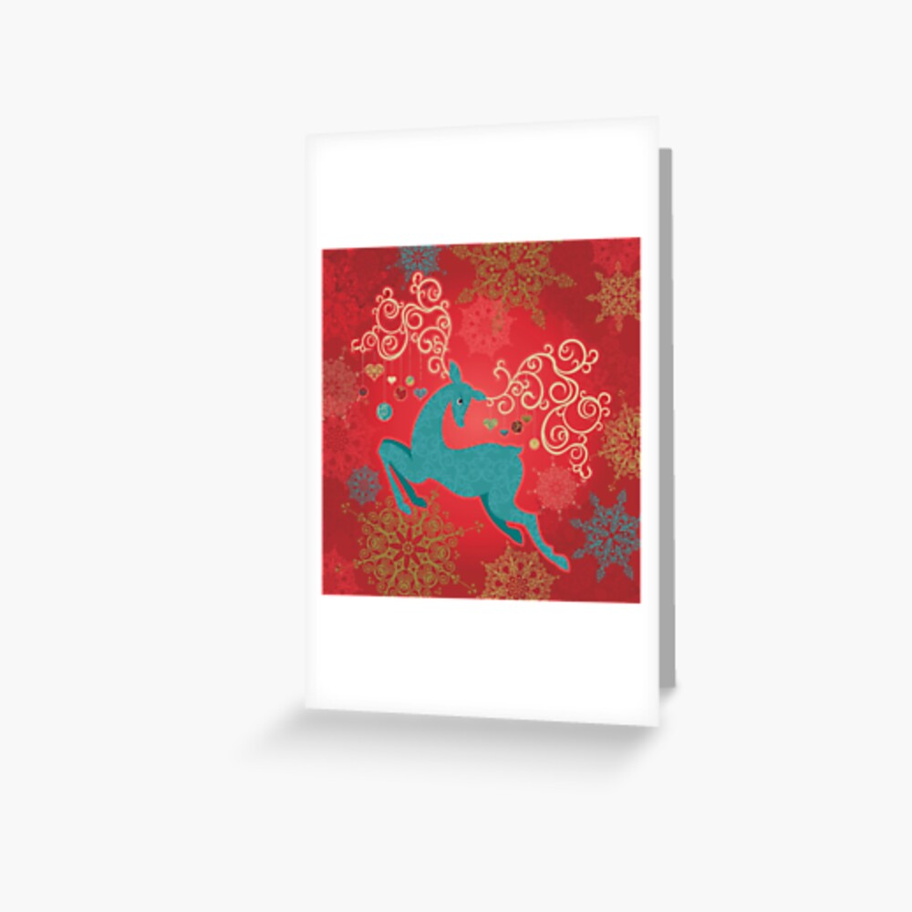 Christmas Deer on Red   Greeting Card
