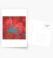 Christmas Deer on Red   Postcards