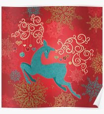 Christmas Deer on Red   Poster