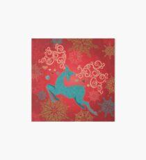 Christmas Deer on Red   Art Board Print
