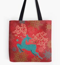 Christmas Deer on Red   Tote Bag
