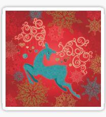 Christmas Deer on Red   Sticker