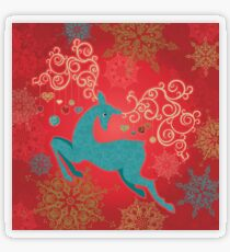 Christmas Deer on Red   Transparent Sticker