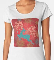 Christmas Deer on Red   Premium Scoop T-Shirt