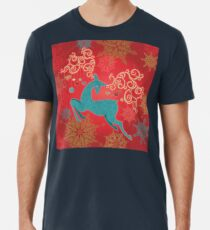 Christmas Deer on Red   Premium T-Shirt