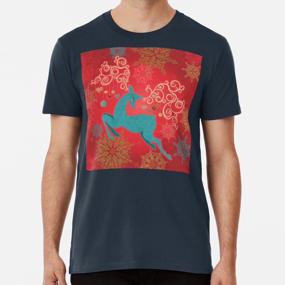 Christmas Deer on Red   Premium T-Shirt