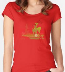 Winter Couple Deer Fitted Scoop T-Shirt