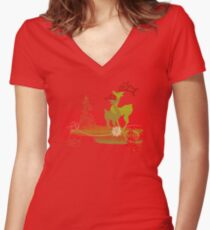 Winter Couple Deer Fitted V-Neck T-Shirt