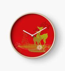 Winter Couple Deer Clock