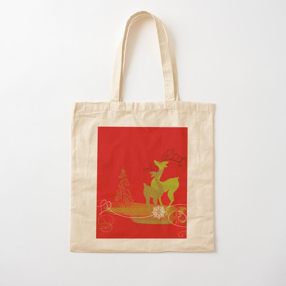 Winter Couple Deer Cotton Tote Bag